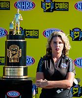 Nov 17, 2019; Pomona, CA, USA; NHRA Fox Sports 1 announcer Amanda Busick during the Auto Club Finals at Auto Club Raceway at Pomona. Mandatory Credit: Mark J. Rebilas-USA TODAY Sports