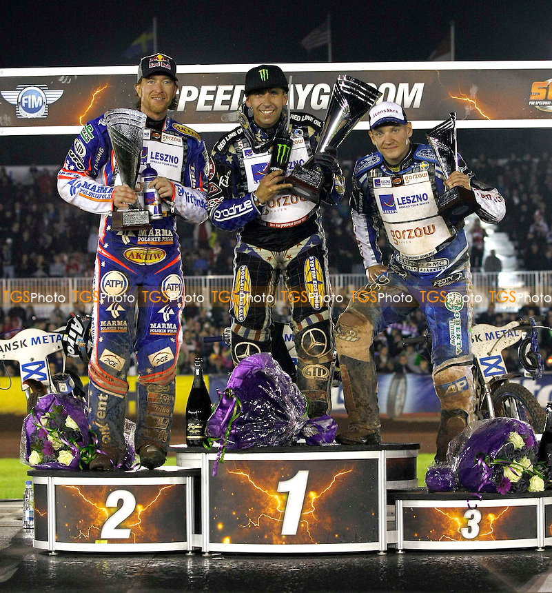 VOJENS ROSTRUM  J.CRUMP,G.HANCOCK,F.LINDGREN.- FIM Speedway Grand Prix at Vojens Speedway Centre, Denmark - 10/09/11 - MANDATORY CREDIT: Rafal Wlosek/TGSPHOTO - Self billing applies where appropriate - 0845 094 6026 - contact@tgsphoto.co.uk - NO UNPAID USE.
