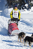 Pat Moon on Long Lake at the Re-Start of the 2012 Iditarod Sled Dog Race