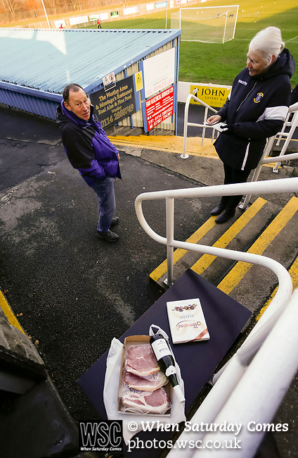 Wine, chocolates and meat are the raffle prizes. Stocksbridge Park Steels v Pickering Town, Evo-Stik East Division, 17th November 2018. Stocksbridge Park Steels were born from the works team of the local British Steel plant that dominates the town north of Sheffield.<br />