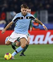 11th January 2020; Stadio Olympico, Rome, Italy; Serie A Football, Lazio versus Napoli; Ciro Immobile of Lazio plays the ball upfield - Editorial Use