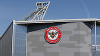 General view of the Brentford Community Stadium, home to Brentford FC and London Irish in the near future showing the Brentford Crest  on the outside of the Stadium  during Brentford vs West Bromwich Albion, Sky Bet EFL Championship Football at Griffin Park on 26th June 2020