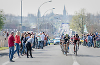 the finale: 15 kilometers to go and Greg Van Avermaet (BEL/BMC) & Jens Keukeleire (BEL/Orica-Scott) force the pace<br /> <br /> 79th Gent-Wevelgem 2017 (1.UWT)<br /> 1day race: Deinze › Wevelgem - BEL (249km)