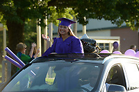 Thursday, May 14, 2020, during a parade for 2020 Fayetteville High School graduates who attended or live in the Root Elementary School district. The parade wound through several neighborhoods around Root Elementary before ending at the school. Visit nwaonline.com/200515Daily/ for today's photo gallery.<br /> (NWA Democrat-Gazette/Andy Shupe)