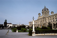 Vienna: The Ringstrasse--Museum of Natural History, 1872-1881. Exterior by Gottfried Semper; interior by Karl Von Hasenauer. Statue of Maria Theresa opposite the Art Museum. Photo '87.