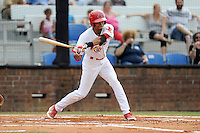 Shortstop Oscar Mercado (4) of the Johnson City Cardinals bats in a game against the Elizabethton Twins on Sunday, July 27, 2014, at Howard Johnson Field at Cardinal Park in Johnson City, Tennessee. Mercado was a second-round pick of the St. Louis Cardinals in the 2014 First-Year Player Draft. (Tom Priddy/Four Seam Images)