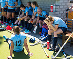 NIJMEGEN -  Teleurstelling bij Nijmegen   na   de tweede play-off wedstrijd dames, Nijmegen-Huizen (1-4), voor promotie naar de hoofdklasse.. Huizen promoveert naar de hoofdklasse.  COPYRIGHT KOEN SUYK