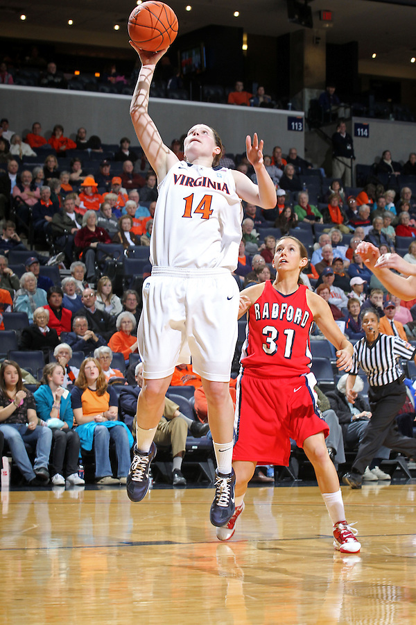 Dec. 6, 2010; Charlottesville, VA, USA; Virginia Cavaliers guard Lexie Gerson (14) shoots in front of Radford Highlanders guard Kaylyn Crosier (31) at the John Paul Jones Arena. Virginia won 76-52. Mandatory Credit: Andrew Shurtleff
