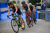 June 11th 2017, Leeds, Yorkshire, England; ITU World Triathlon Leeds 2017; Jessica Learmonth, Gillian Backhouse and Kirsten Kasper compete in the cycling phase around Leeds city centre