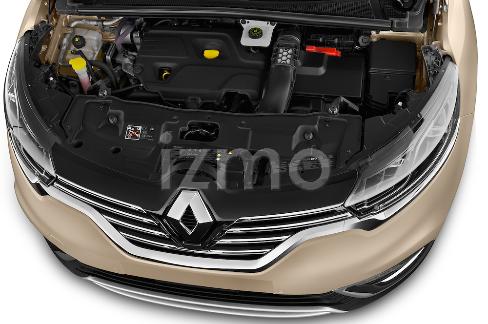 Car Stock 2015 Renault Espace Intens 5 Door Minivan Engine high angle detail view