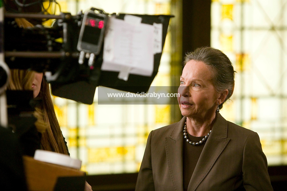 """8 May 2006 - North Bergen, NJ - French actress Leslie Caron waits between takes on the studio set of television show """"Law & Order: SVU"""" in North Bergen, USA, 8 May 2006. In this rare appearance in front of American television cameras, Caron, 74, plays a French victim of past sexual molestation in an episode entitled """"Recall"""" due to air in the fall. Caron starred in Hollywood classics such as """"An American in Paris"""" (1951), """"Lili"""" (1953), """"Gigi"""" (1958). More recently she appeared in """"Chocolat"""" (2000) and """"Le Divorce"""" (2003). Photo Credit: David Brabyn"""