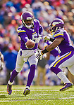 19 October 2014: Minnesota Vikings quarterback Teddy Bridgewater hands off to running back Jerick McKinnon in the second quarter against the Buffalo Bills at Ralph Wilson Stadium in Orchard Park, NY. The Bills defeated the Vikings 17-16 in a dramatic, last minute, comeback touchdown drive. Mandatory Credit: Ed Wolfstein Photo *** RAW (NEF) Image File Available ***