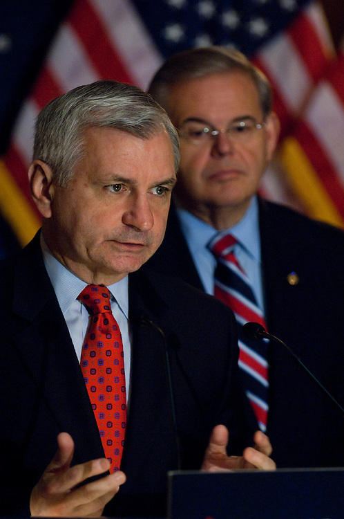 WASHINGTON, DC - April 27: Sen. Jack Reed, D-R.I., and Sen. Robert Menendez, D-N.J., during a news conference on financial overhaul legislation before the Senate. (Photo by Scott J. Ferrell/Congressional Quarterly)