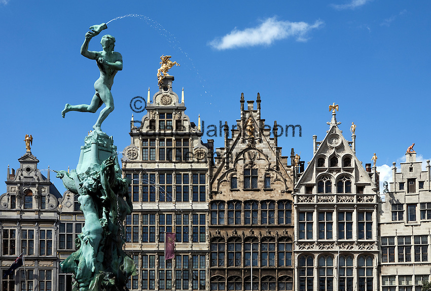 Belgium, Antwerp: Renaissance Guild Halls and Brabo Fountain in the Grote Markt