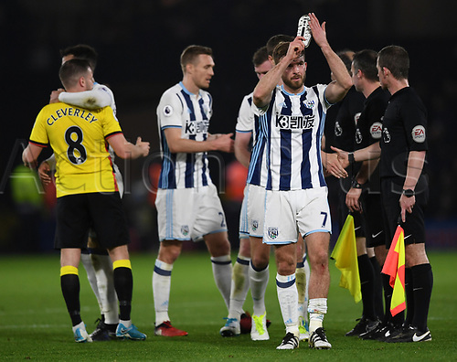 April 4th 2017,  Vicarge Road, Watford, England; EPL Premier league football, Watford versus West Bromwich Albion; James Morrison, Midfielder for West Bromwich Albion applauds the crowd after the game
