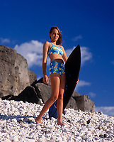 Teen Surfer Girl, North Shore, Oahu, Hawaii, USA.