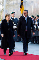 01 March 2016 - Berlin, Germany - German Chancellor Angela Merkel welcomes the Croatian Prime Minister Tihomir Oreskovic on March 1, 2016 with military honors at the Federal Chancellery in Berlin. On the courtyard already crocuses blossom. Photo Credit: Stocki/face to face/AdMedia