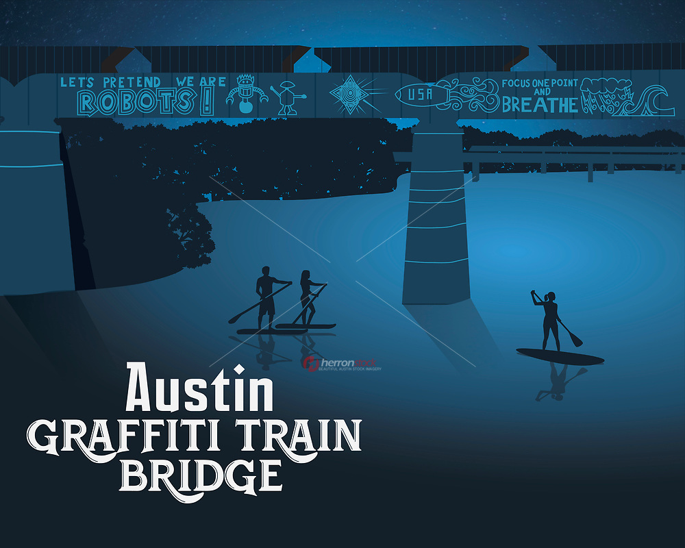 """This fine art print celebrates Austin's famous and iconic graffiti train bridge.<br /> <br /> The Austin Graffiti Bridge is comprised of inspirational graffiti paintings on a highly visible railroad bridge over Lady Bird Lake overlooking the Austin skyline. The themes range from """"Life is Change - Be Flexible""""; """"Focus One Point And Breathe"""" and just for fun, """"Let's Pretend We Are Robots"""" and a collection of Pac Man characters with the words """"NEVER GIVE UP"""". Austin's graffiti artists will never give up seeking a higher and larger form of expression and inspiration."""