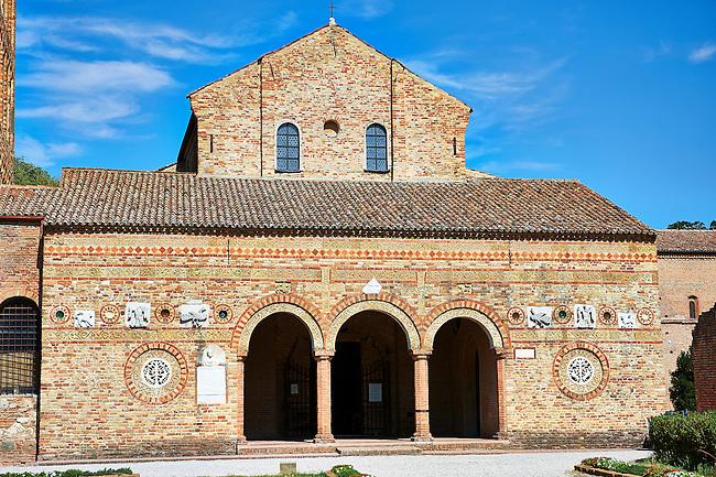 11th century Romanesque portico of the Church of Santa Maria, Benedictine Abbey of Pomposa, Emilia-Romagna, Italy.