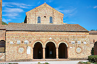 11th century Romanesque portico of the Church of Santa Maria, Benedictine Abbey of Pomposa, Emilia-Romagna, Italy.