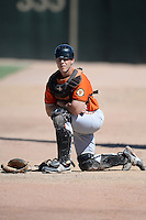 San Francisco Giants catcher Drew Stiner (10) in the bullpen during an instructional league game against the Oakland Athletics on September 27, 2013 at Papago Park Baseball Complex in Phoenix, Arizona.  (Mike Janes/Four Seam Images)
