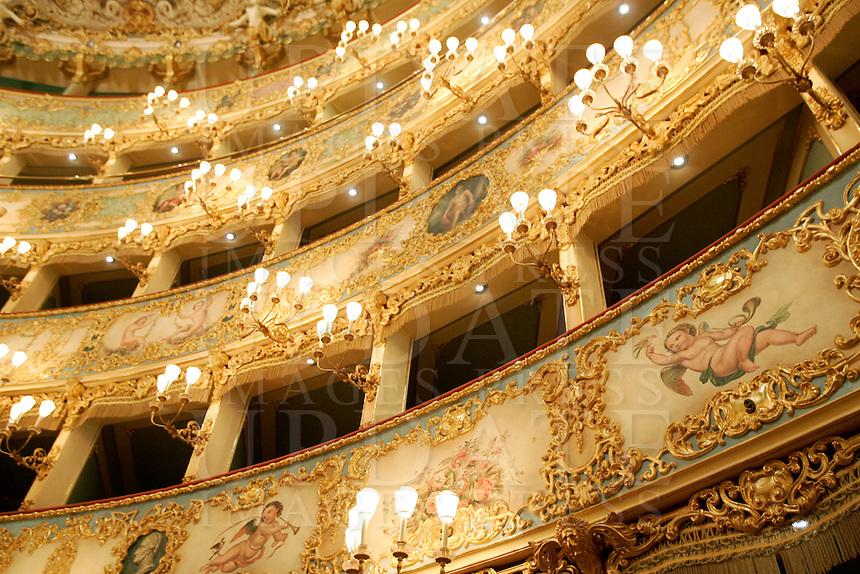 I palchi del Teatro La Fenice a Venezia.<br /> Boxes at La Fenice theater in Venice.<br /> UPDATE IMAGES PRESS/Riccardo De Luca