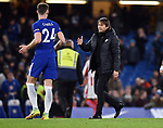 Chelsea Manager Antonio Conte and Gary Cahill of Chelsea at the end of the premier league match at Stamford Bridge Stadium, London. Picture date 30th December 2017. Picture credit should read: Robin Parker/Sportimage