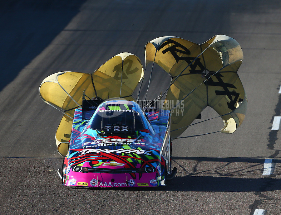 Feb 26, 2016; Chandler, AZ, USA; NHRA funny car driver Courtney Force during qualifying for the Carquest Nationals at Wild Horse Pass Motorsports Park. Mandatory Credit: Mark J. Rebilas-