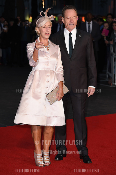 Dame Helen Mirren &amp; Bryan Cranston at the premiere of &quot;Trumbo&quot;, as part of the London Film Festival 2015, at the Odeon Leicester Square, London.<br /> October 8, 2015  London, UK<br /> Picture: Steve Vas / Featureflash