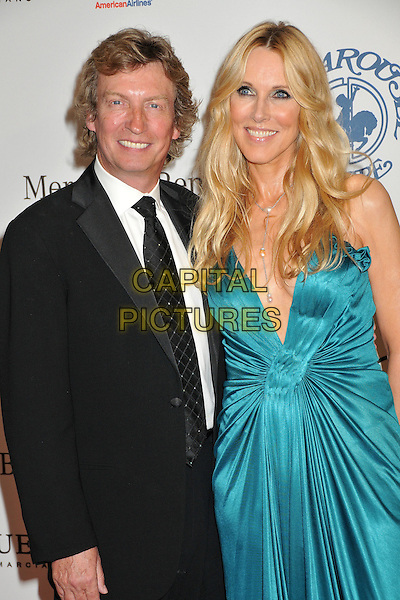 NIGEL LYTHGOE & ALANA STEWART.The 30th Annual Carousel Of Hope Ball at the Beverly Hilton Hotel, Beverly Hills, California, USA..October 25th, 2008.half length black suit jacket green dress silk satin.CAP/ADM/BP.©Byron Purvis/AdMedia/Capital Pictures.