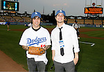 LOS ANGELES, CA. - September 02: Pete Wentz and Brendon Urie of Panic at the Disco  posing before he throws the ceremonial first pitch at Dodger Stadium in Los Angeles, California on September 2, 2009.