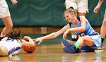 WATERBURY CT. 16 February 2018-021619SV07-#10 Molly Sastram of Oxford battles for the loose ball with #21 Catherine Ciampi of St. Paul during the NVL girls basketball tournament in Waterbury Saturday.<br /> Steven Valenti Republican-American