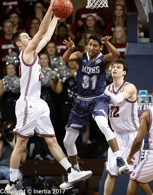 SIOUX FALLS, SD: MARCH 22: Gokul Natesan #31 from Colorado Mines passes away from George Knott #20 from Bellarmine during the Men's Division II Basketball Championship Tournament on March 22, 2017 at the Sanford Pentagon in Sioux Falls, SD. (Photo by Dick Carlson/Inertia)