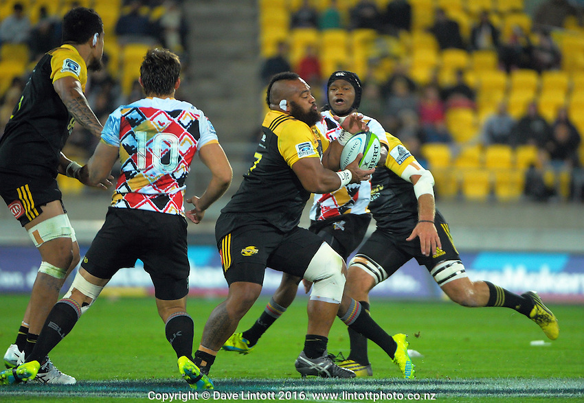 Loni Uhila takes an intercept during the Super Rugby match between the Hurricanes and Southern Kings at Westpac Stadium, Wellington, New Zealand on Friday, 25 March 2016. Photo: Dave Lintott / lintottphoto.co.nz