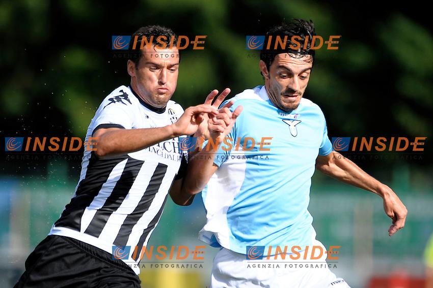 Erjon Bogdani Siena Giuseppe Biava Lazio.Auronzo di Cadore 25/7/2012.Football Calcio 2012 / 2013 .Amichevole Friendly Match.SS Lazio Vs AC Siena.Foto Insidefoto