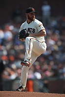 SAN FRANCISCO, CA - SEPTEMBER 2:  Sam Dyson #49 of the San Francisco Giants pitches against the New York Mets during the game at AT&T Park on Sunday, September 2, 2018 in San Francisco, California. (Photo by Brad Mangin)