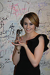 """Days of our Lives Jillian Clare """"Abigail Deveraux"""" wins the Indie Award for best use of music for Miss Behave. She placed almost all the music for the second season of Miss Behave. We Love Soaps presents The 3rd Annual Indie Soap Awards on February 21, 2012 at the New World Stages, New York City, New York.  (Photo by Sue Coflin/Max Photos)"""