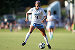 CARY, NC - AUGUST 18: North Carolina's Emily Fox. The University of North Carolina Tar Heels hosted the Duke University Blue Devils on August 18, 2017, at Koka Booth Stadium in Cary, NC in a Division I college soccer game.