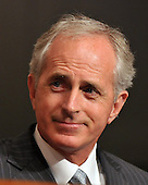 """Washington, D.C. - September 23, 2008 -- United States Senator Bob Corker (Republican of Tennessee) listens to testimony during the United States Senate Committee on Banking, Housing and Urban Affairs hearing on """"Turmoil in US Credit Markets: Recent Actions Regarding Government Sponsored Entities, Investment Banks and Other Financial Institutions"""" in Washington, D.C. on Tuesday, September 23, 2008.  The hearing focused on the United States Government's proposed 700 billion U.S. dollar bail-out of the banking system caused by poor lending practices of U.S. banks.<br /> Credit: Ron Sachs / CNP"""