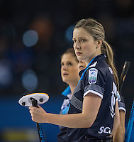 Glasgow. SCOTLAND.  Lauren GRAY,  during  the &quot;Round Robin&quot; Game.  Scotland vs Russia,  Le Gruy&egrave;re European Curling Championships. 2016 Venue, Braehead  Scotland<br /> Thursday  24/11/2016<br /> <br /> [Mandatory Credit; Peter Spurrier/Intersport-images]