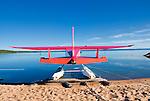 Bush Hawk float plane on beach, East Arm of Great Slave lake