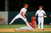 Florida Fire Frogs shortstop Ray-Patrick Didder (13) turns a double play during a game against the Palm Beach Cardinals on May 1, 2018 at Osceola County Stadium in Kissimmee, Florida.  Florida defeated Palm Beach 3-2.  (Mike Janes/Four Seam Images)