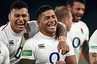 Manu Tuilagi of England is all smiles after the match with team-mate Nathan Hughes. Quilter International match between England and Australia on November 24, 2018 at Twickenham Stadium in London, England. Photo by: Patrick Khachfe / Onside Images