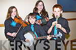 REHEARSING: The Lixnaw music group in rehearsals before they take part in the Kerry Community Games Finals at Abbeydorney on Saturday. L-r: Andrea Stack, Sean Kissane,Rachel Taylor and Killian Trant.