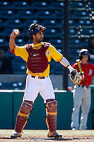 Jake Hernandez #21 of the USC Trojans during a game against the Cal State Northridge Matadors at Dedeaux Field on February 24, 2013 in Los Angeles, California. (Larry Goren/Four Seam Images)