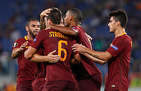 Calcio, Europa League: Roma vs Astra Giurgiu. Roma, stadio Olimpico, 29 settembre 2016.<br /> Roma&rsquo;s Kevin Strootman, back to camera, n. 6, celebrates with teammates after scoring during the Europa League Group E soccer match between Roma and Astra Giurgiu at Rome's Olympic stadium, 29 September 2016. Roma won 4-0.<br /> UPDATE IMAGES PRESS/Riccardo De Luca