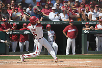 NWA Democrat-Gazette/J.T. WAMPLER Arkansas' Jacob Nesbit gets a hit against Ole Miss Monday June 10, 2019 during the NCAA Fayetteville Super Regional at Baum-Walker Stadium in Fayetteville. Arkansas won 14-1 and will advance to the College World Series in Omaha.