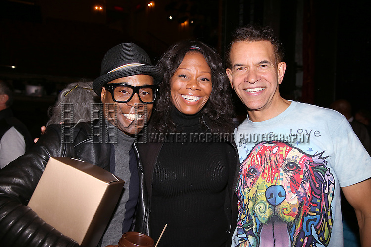 Billy Porter, Stephanie Pope and Brian Stokes Mitchell during the Actors' Equity Opening Night Gypsy Robe Ceremony honoring Arbender Robinson for 'Shuffle Along' at The Music Box Theatre on April 28, 2016 in New York City.