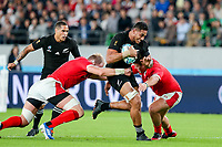 1st November 2019, Tokyo, Japan;  Rieko Ioane of New Zealand is stopped on his run during the 2019 Rugby World Cup Bronze medal match between New Zealand and Wales at Tokyo Stadium in Tokyo, Japan on November 1, 2019. (Photo by AFLO)  - Editorial Use