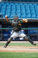 Benton Breazeale #52 of Pigeon Forge High School in Louisville, Tennessee playing for the Oakland Athletics scout team during the East Coast Pro Showcase at Alliance Bank Stadium on August 2, 2012 in Syracuse, New York.  (Mike Janes/Four Seam Images)